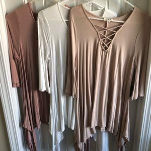 NWOT Set of 3 Umgee U.S.A. Tunics in blush colors
